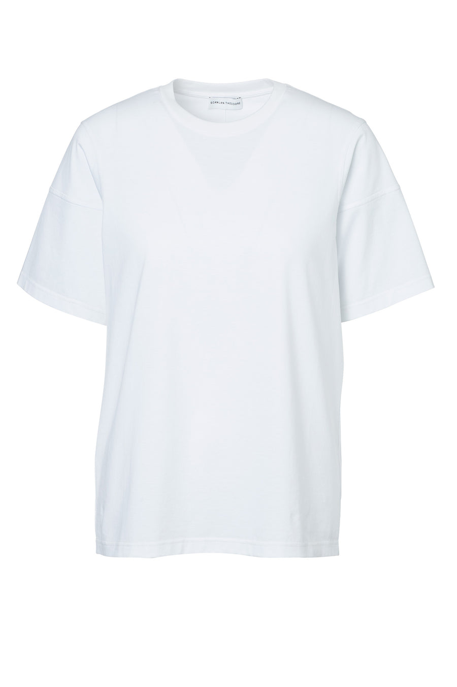 MERCERISED LOOSE FIT TSHIRT, WHITE color