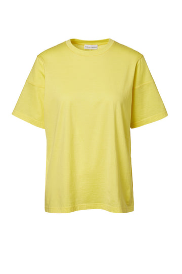 MERCERISED LOOSE FIT TSHIRT, YELLOW color