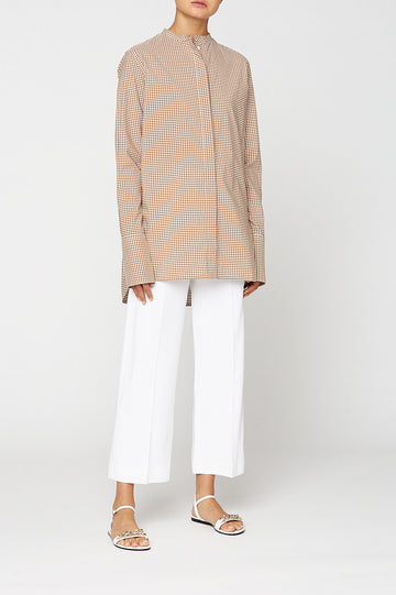 CUT EDGE GRANDPA SHIRT, oversized tailored shirt, button down, round collarless neckline. Color Camel