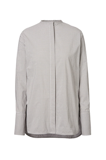 CUT EDGE GRANDPA SHIRT, oversized tailored shirt, button down, round collarless neckline. Color Grey