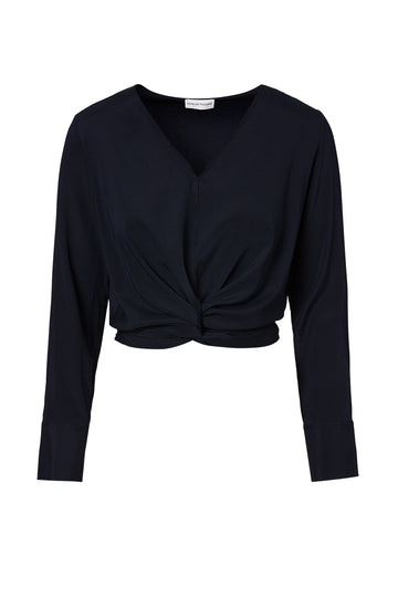 Silk Turban Twist Blouse, cut on the bias, soft drape, v-neck style, long sleeves, front twist detail on waist, color Navy