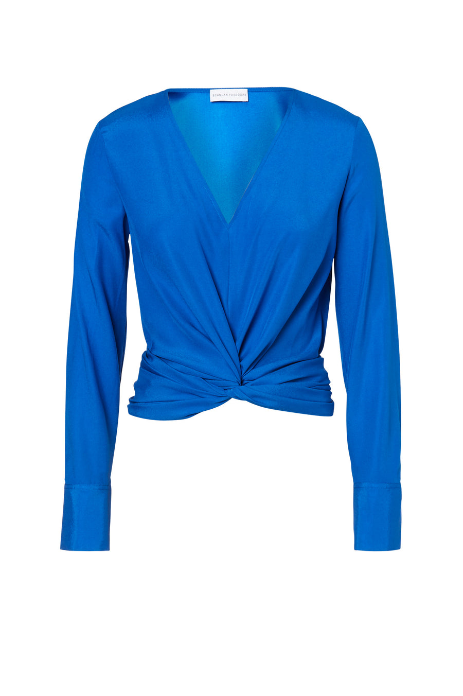 Silk Turban Twist Blouse, cut on the bias, soft drape, v-neck style, long sleeves, front twist detail on waist, color Peacock