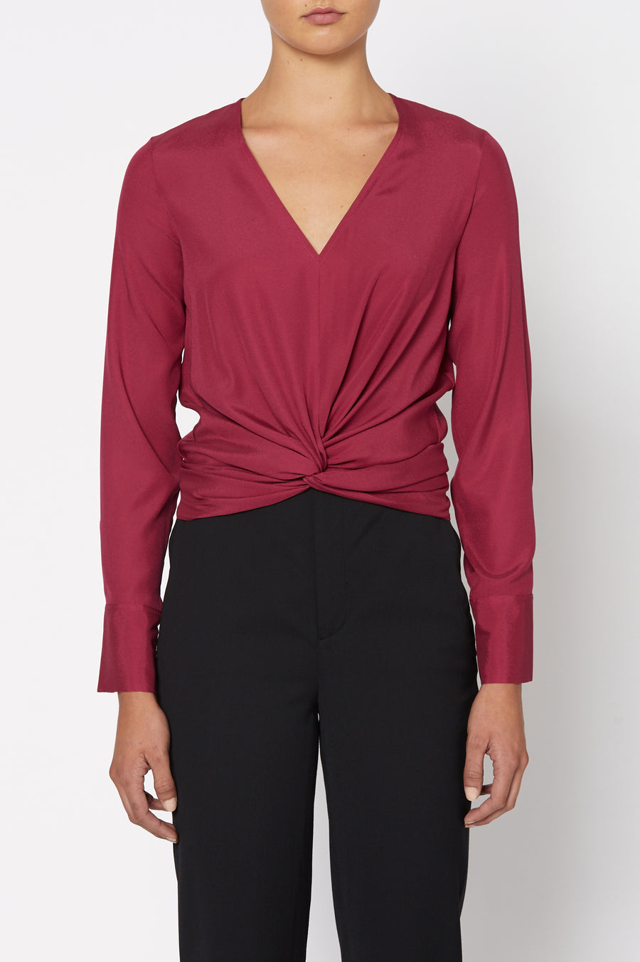 Silk Turban Twist Blouse, cut on the bias, soft drape, v-neck style, long sleeves, front twist detail on waist, color Raspberry
