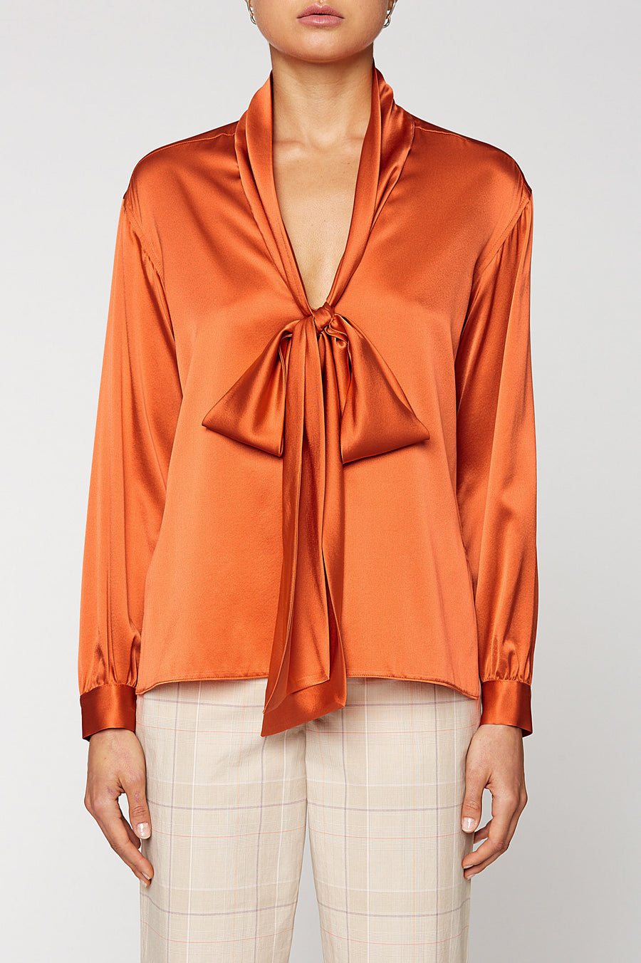 SILK SATIN TIE NECK BLOUSE