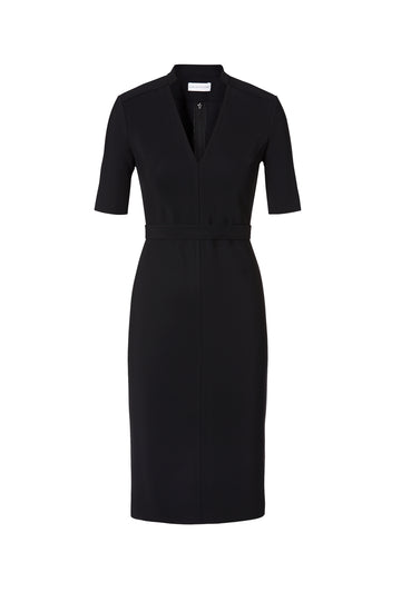 Scuba V Neck Dress, v-neckline, mid length sleeves, belt in the same fabric to tie around waist, Color Black