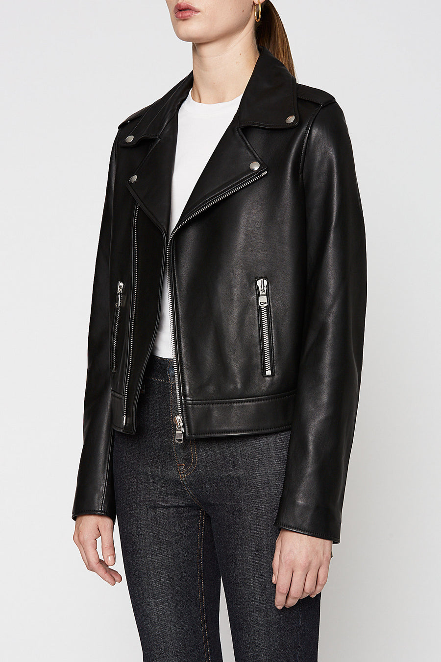 LEATHER BIKER, BLACK color