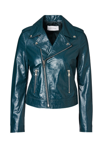 Patent Leather Biker, slim fit, silver hardware, angled centre front zip, two front zip enclosed pockets, Color Teal