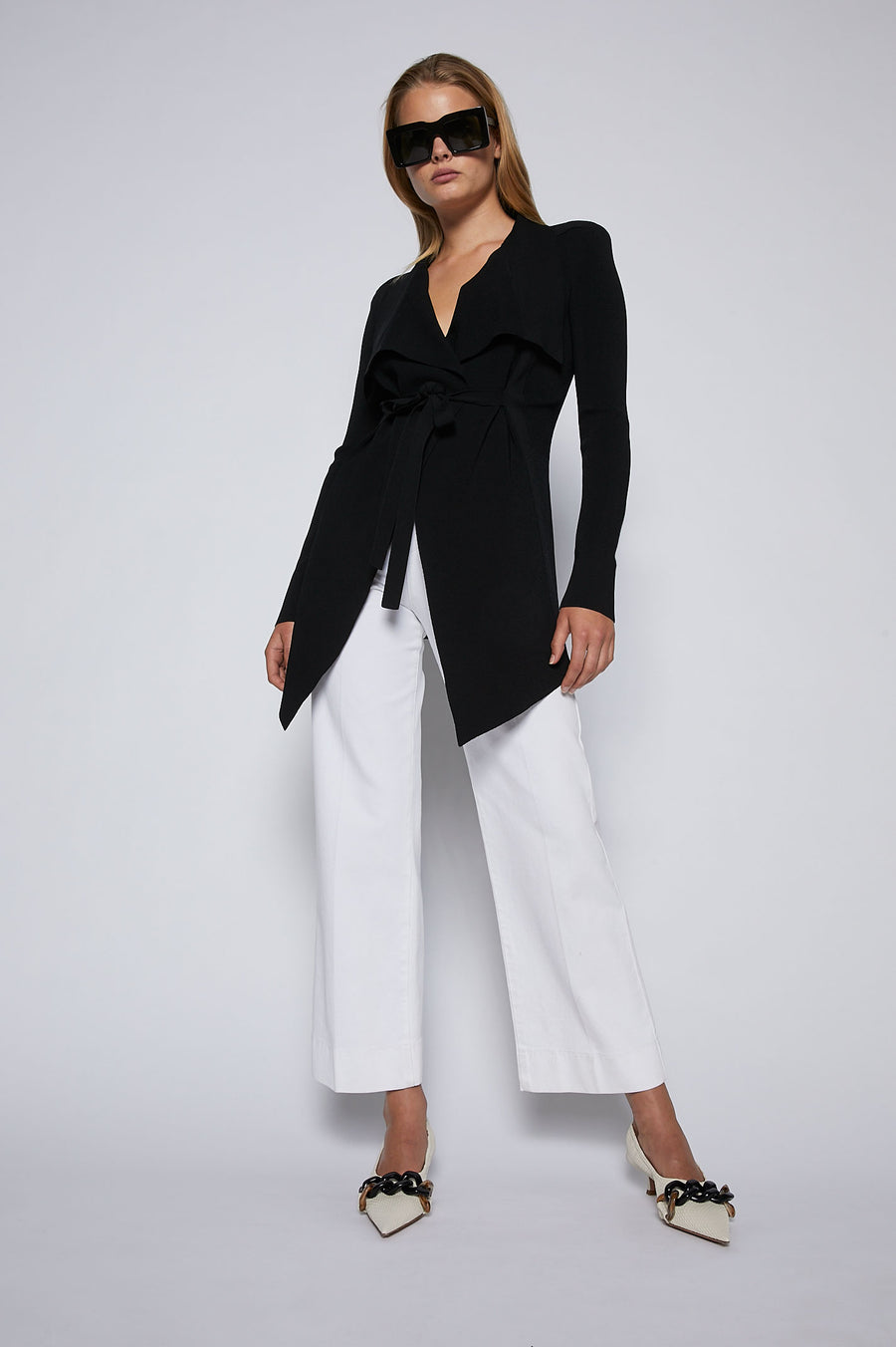 Crepe Knit Drape Front Jacket, tailored jacket, pointed collar, fitted bodice, shoulder pads, flap pocket detail, Color Black