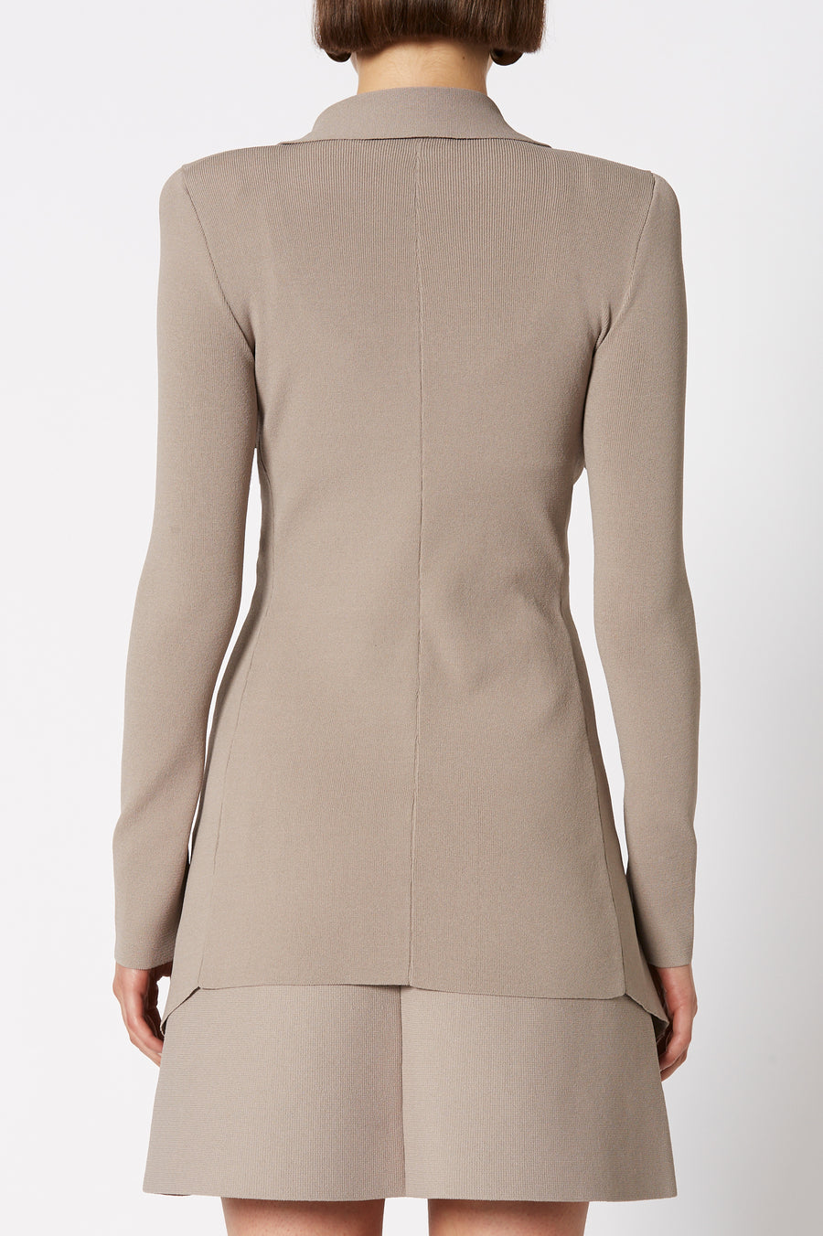 CREPE KNIT DRAPE FRONT JACKET CLAY