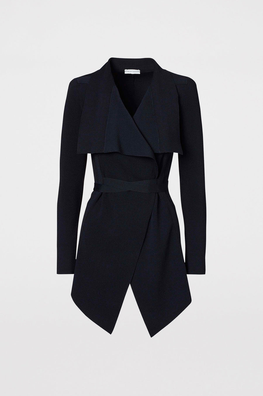 Crepe Knit Drape Front Jacket, tailored jacket, pointed collar, fitted bodice, shoulder pads, flap pocket detail, Color Navy