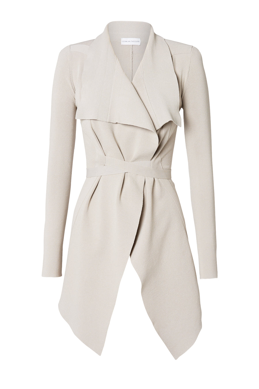 CREPE KNIT DRAPE FRONT JACKET, OYSTER color