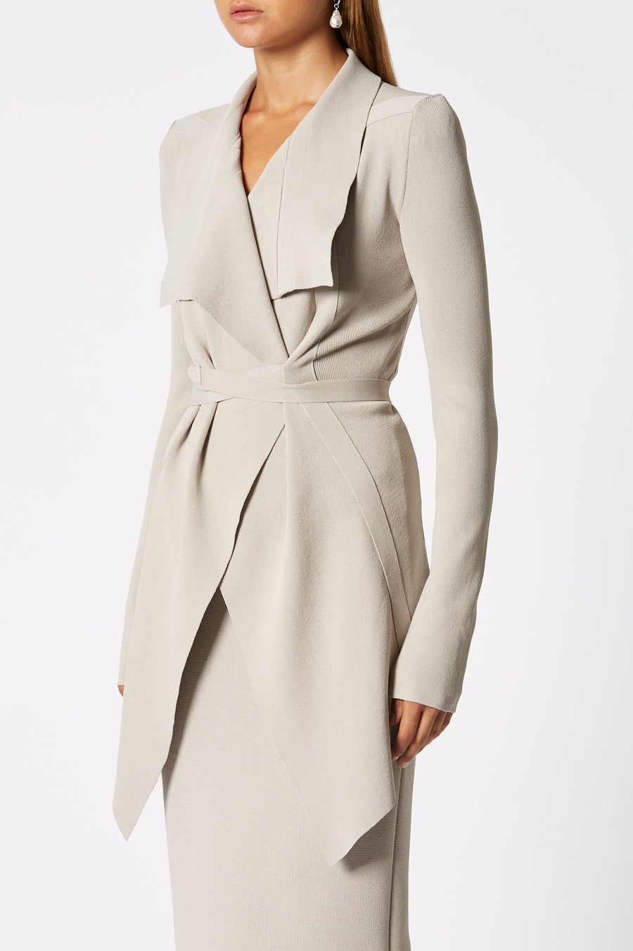 Crepe Knit Drape Front Jacket, tailored jacket, pointed collar, fitted bodice, shoulder pads, flap pocket detail, Color Oyster
