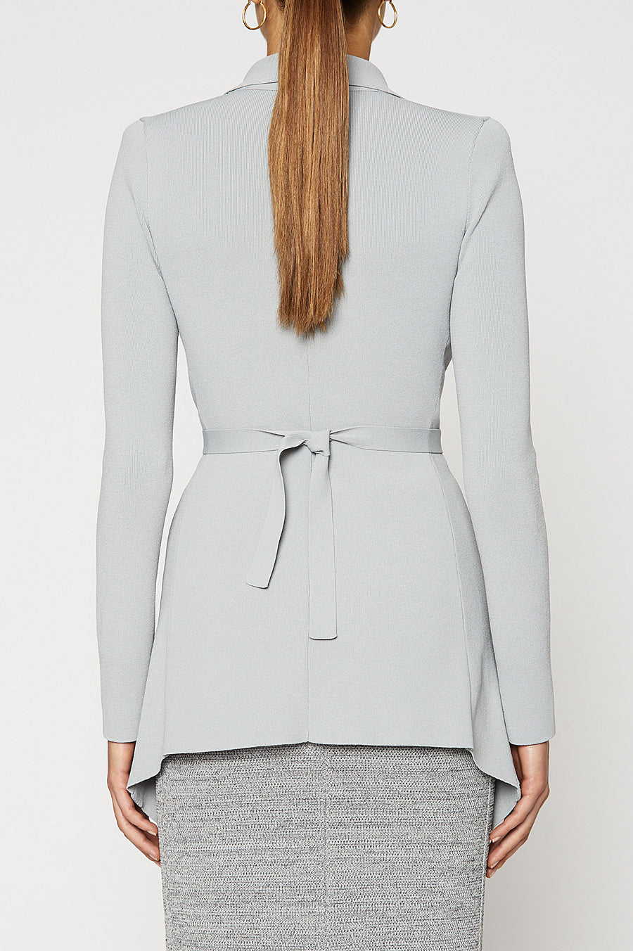 Crepe Knit Drape Front Jacket, tailored jacket, pointed collar, fitted bodice, shoulder pads, flap pocket detail, Color Smoke