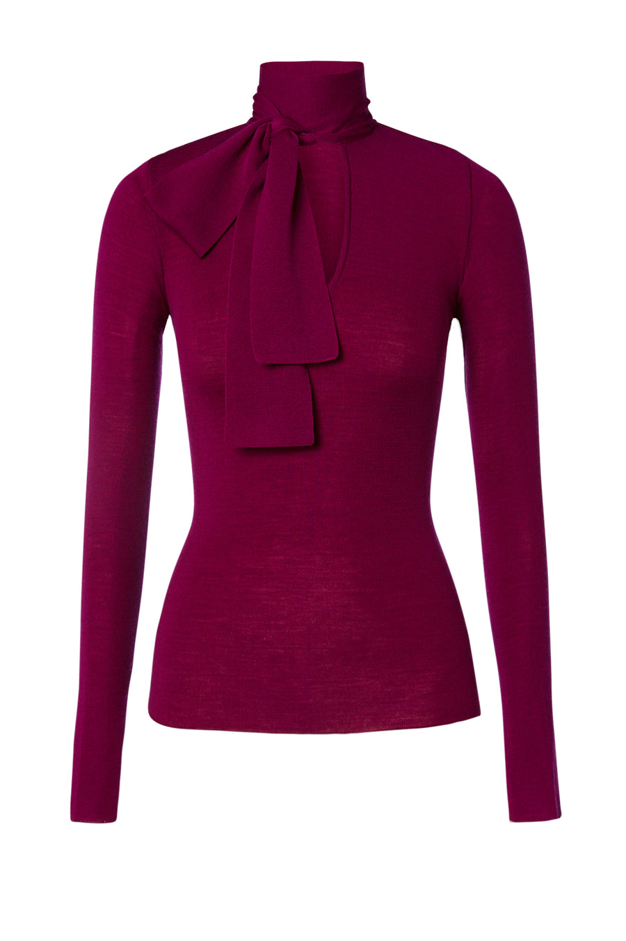Babywool, 100% Australian Extrafine Merino, Long Sleeve, Tie Neck, color Crimson