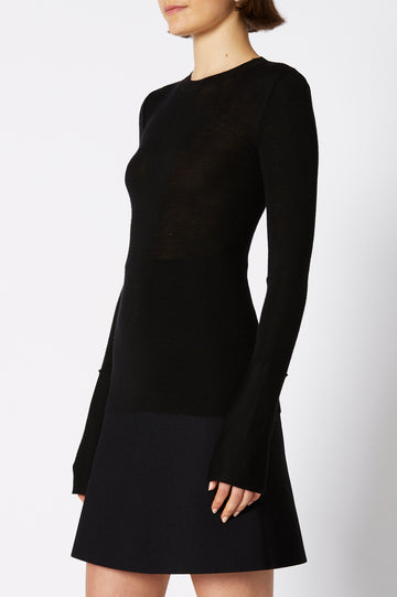 BABYWOOL CUFFED CREW NECK BLACK
