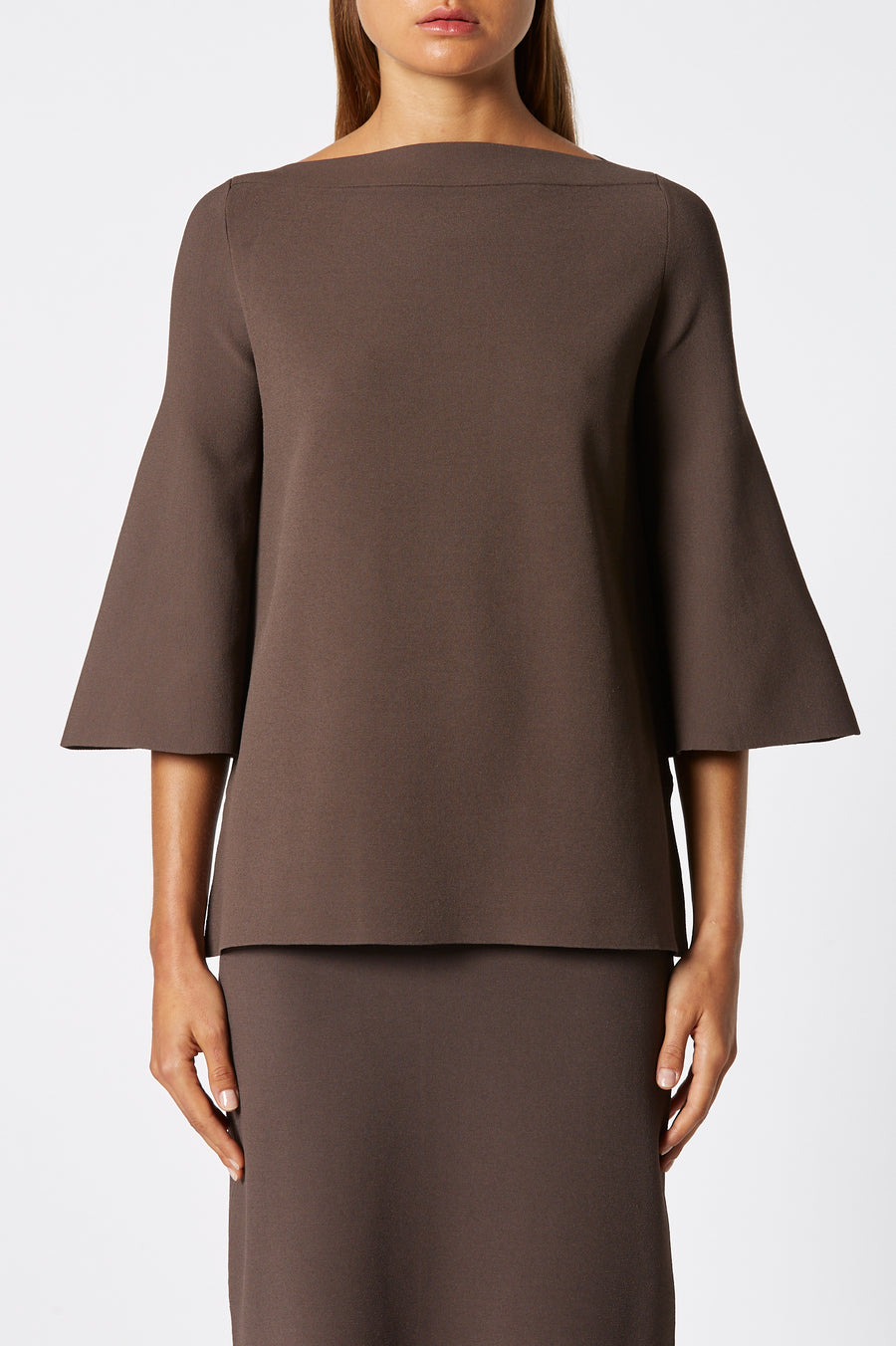 Micro Crepe Boat Neck Sweater, mid-length peplum sleeves, high neckline, Color Cafe