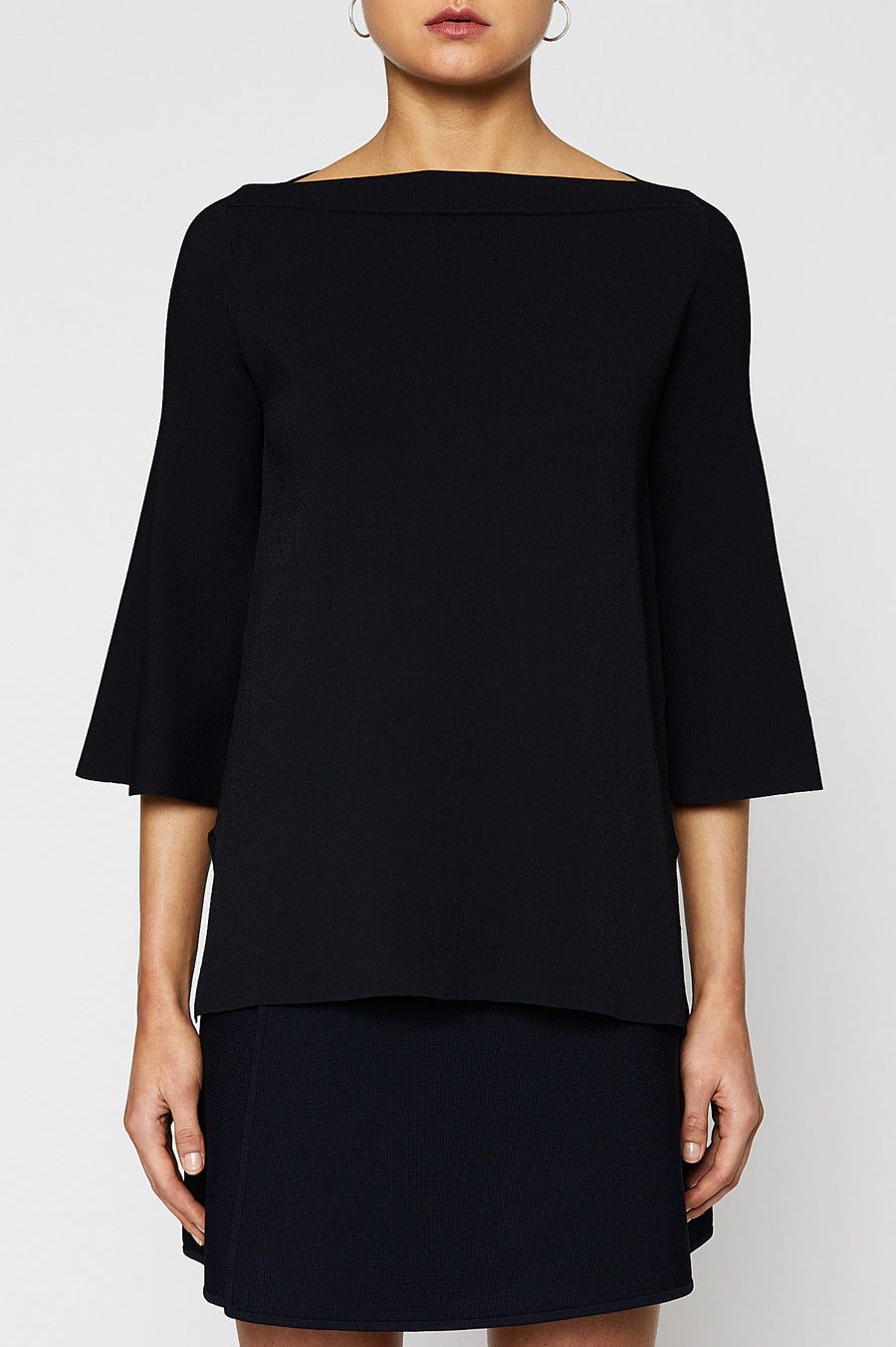 Micro Crepe Boat Neck Sweater, mid-length peplum sleeves, high neckline, Color Navy
