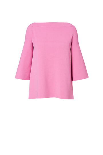 Micro Crepe Boat Neck Sweater, mid-length peplum sleeves, high neckline, Color Pink