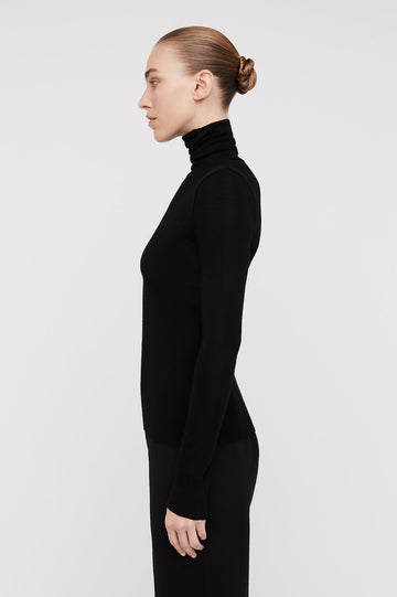 Babywool, 100% Australian Extrafine Merino, Long Sleeve, Turtleneck, color Black
