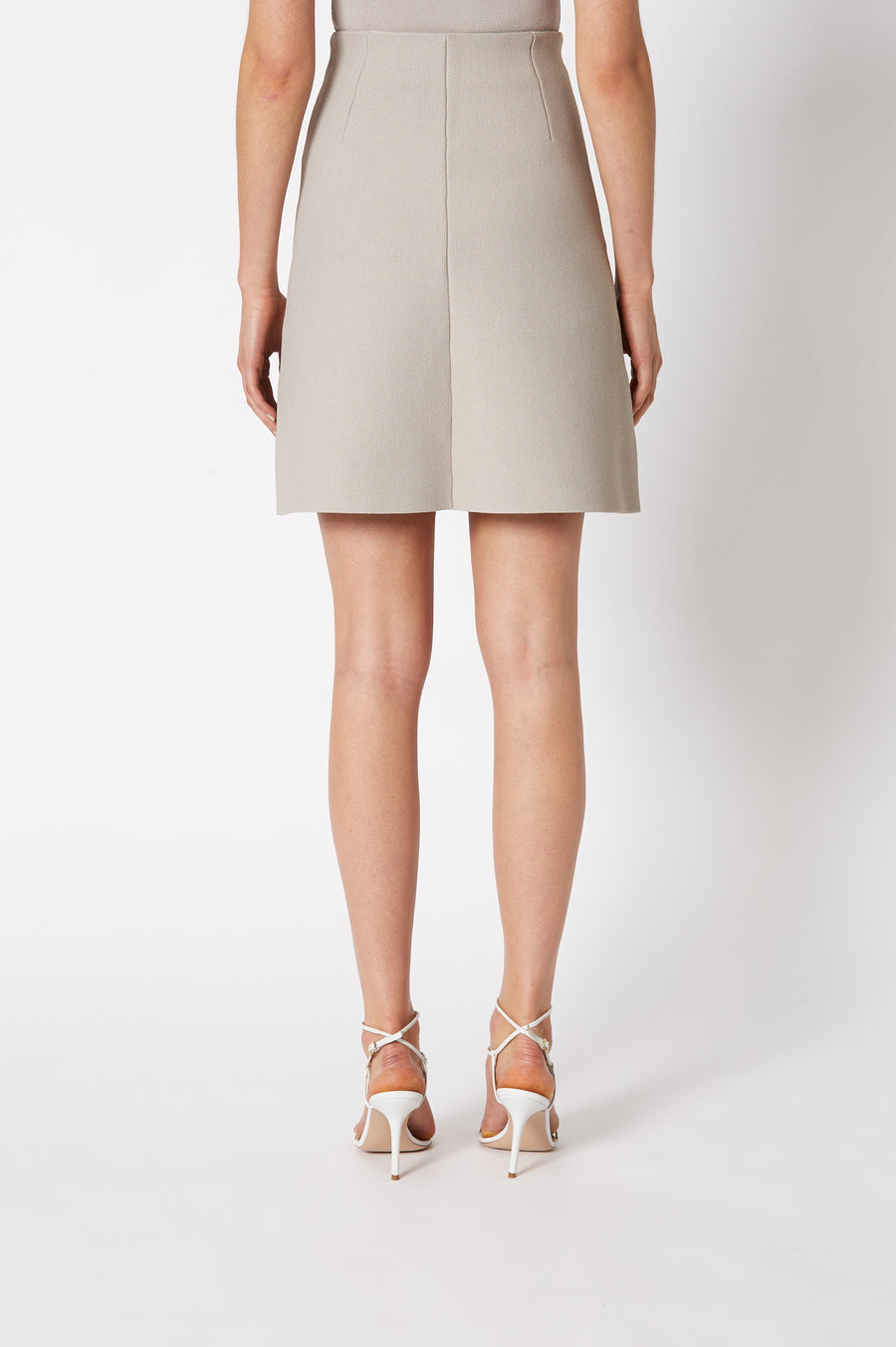 CREPE KNIT SHORT A-LINE SKIRT OYSTER