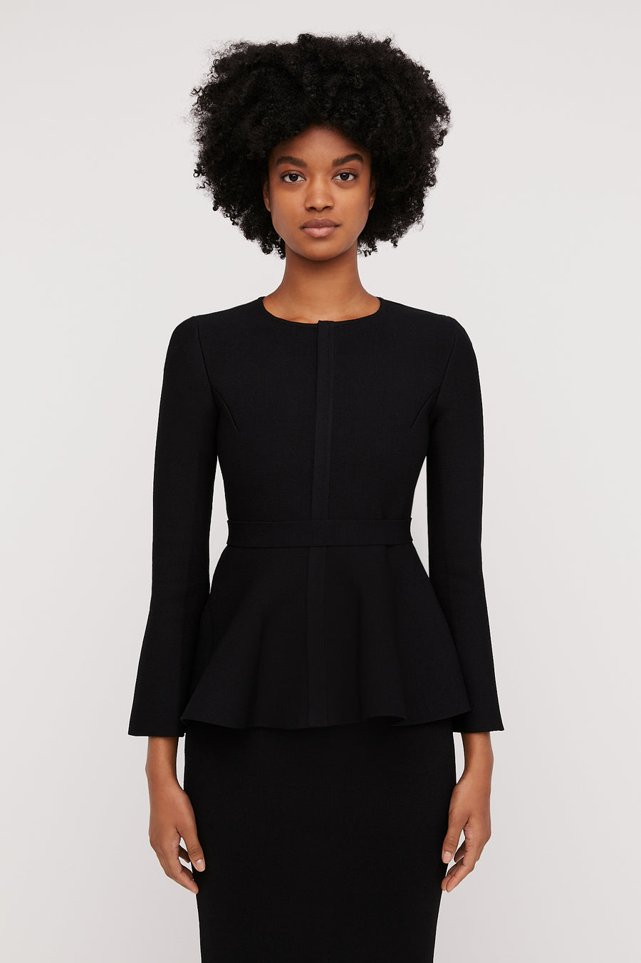 CREPE KNIT RUFFLE JACKET BLACK