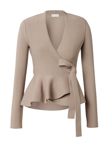 CREPE KNIT WRAP JACKET CLAY