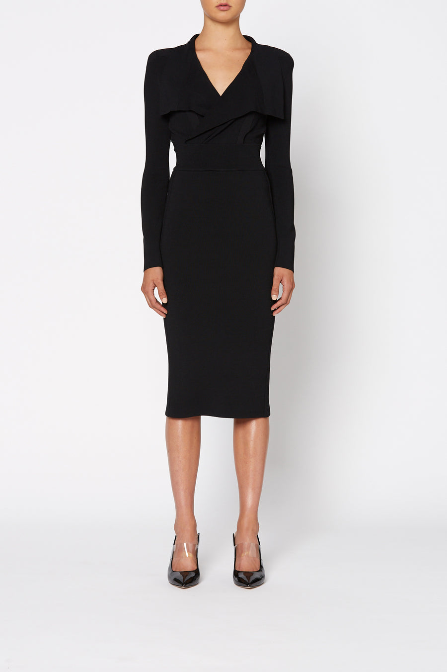 Crepe Knit Drape Front Dress, pointed collar, fitted bodice, shoulder pads, long sleeves, falls below the knee, color black