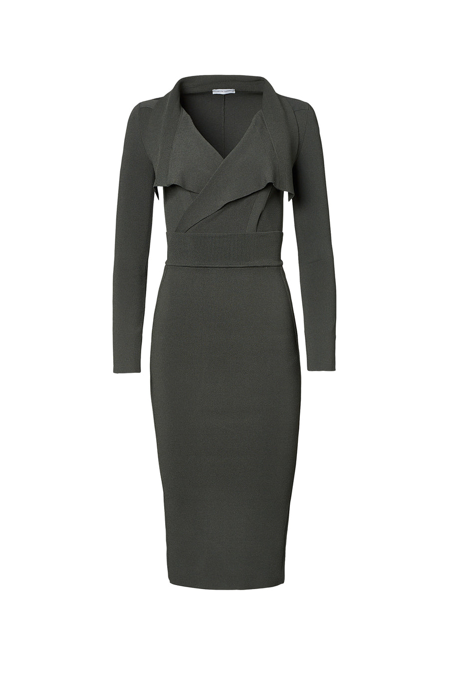 Crepe Knit Drape Front Dress, pointed collar, fitted bodice, shoulder pads, long sleeves, falls below the knee, color safari