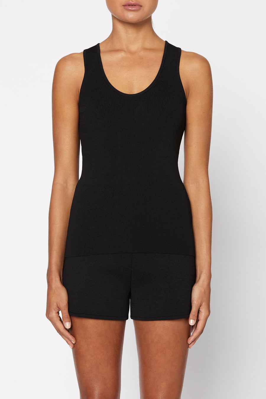Crepe Knit Singlet, Scoop Neck, Slim Fit. Color Black