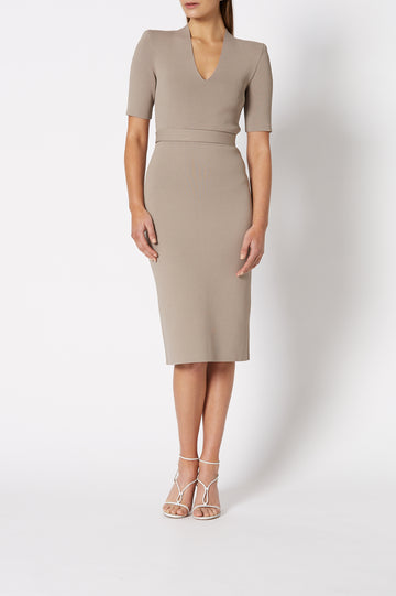 CREPE KNIT V NECK DRESS CLAY