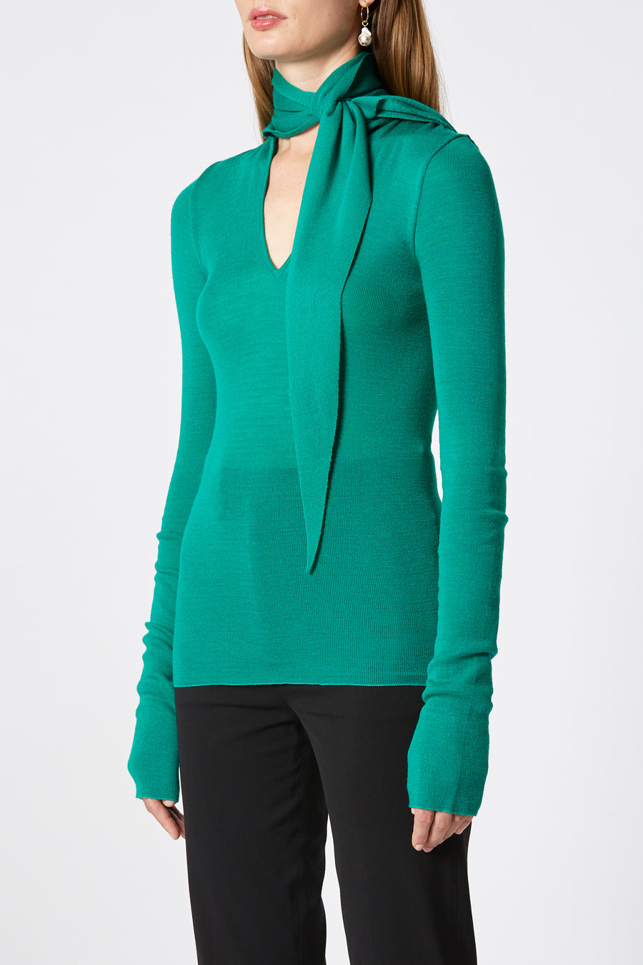 Babywool, 100% Australian Extrafine Merino, Long Sleeve, Tie Neck, color Emerald