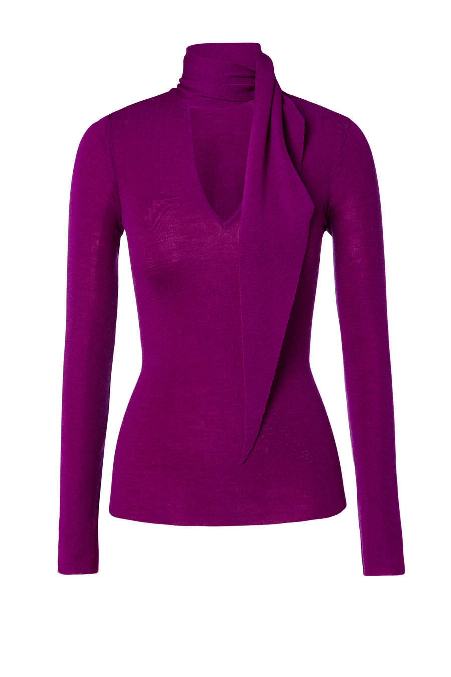 Babywool, 100% Australian Extrafine Merino, Long Sleeve, Tie Neck, color Fuchsia