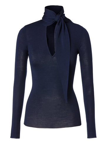 Babywool, 100% Australian Extrafine Merino, Long Sleeve, Tie Neck, color Indigo