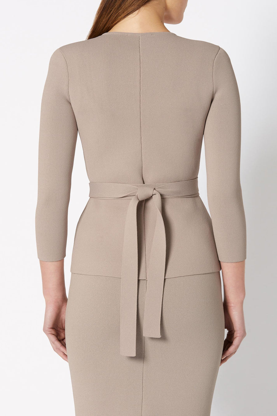 CREPE KNIT CURVED HEM JACKET CLAY