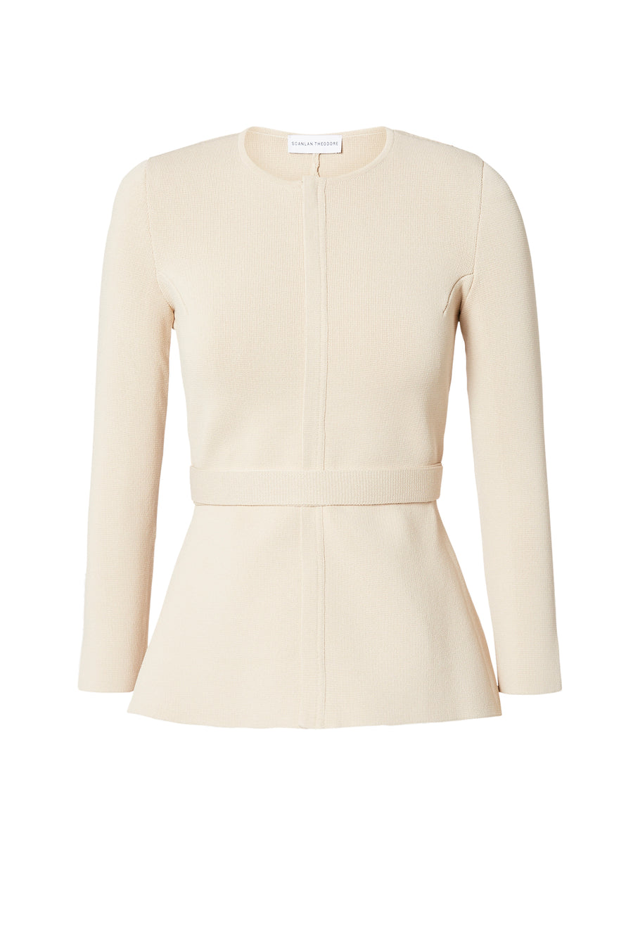Crepe Knit Curved Hem Jacket, front zip, separate belt, peplum, Color Papiro