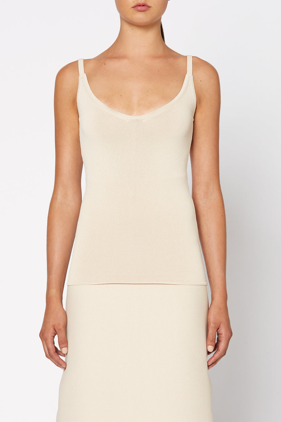 Crepe Knit Camisole, scoop v neckline, thin shoulder straps, Color Papiro