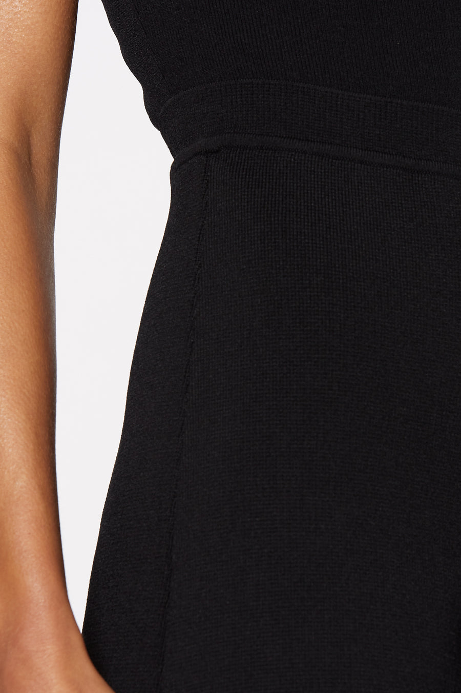 Crepe Knit shorts, high waisted, fitted short, mid thigh, Color Black