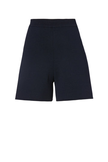 Crepe Knit shorts, high waisted, fitted short that come to mid thigh, Color Navy