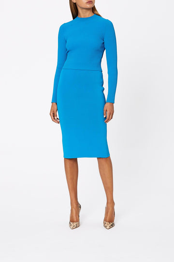 Crepe Knit Slit Back Skirt Azure - Scanlan Theodore