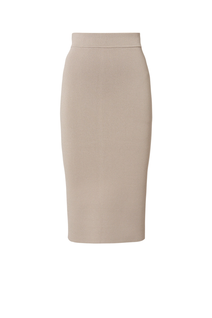 CREPE KNIT SLIT BACK SKIRT CLAY