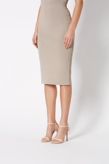 Crepe Knit Slit Back Skirt, Tailored Form Fitting Pencil Skirt. Center Back Split. Color Clay