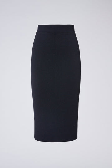 Crepe Knit Slit Back Skirt, Tailored Form Fitting Pencil Skirt. Center Back Split. Color Navy
