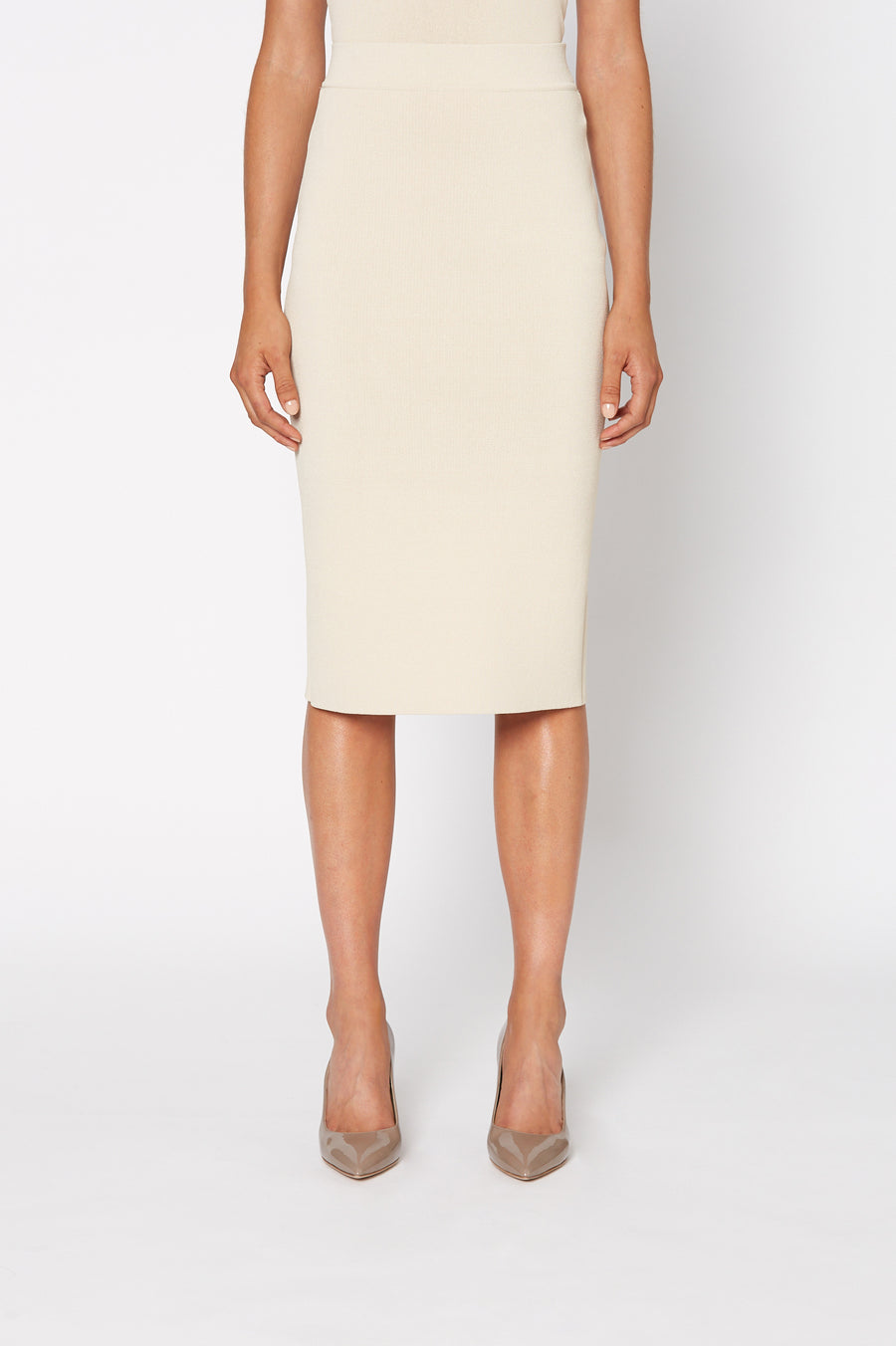 Crepe Knit Slit Back Skirt, Tailored Form Fitting Pencil Skirt. Center Back Split. Color Papiro