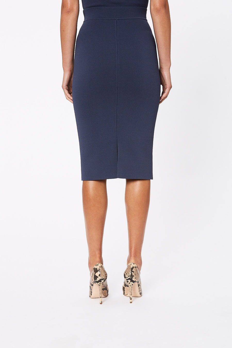 Crepe Knit Slit Back Skirt Slate - Scanlan Theodore