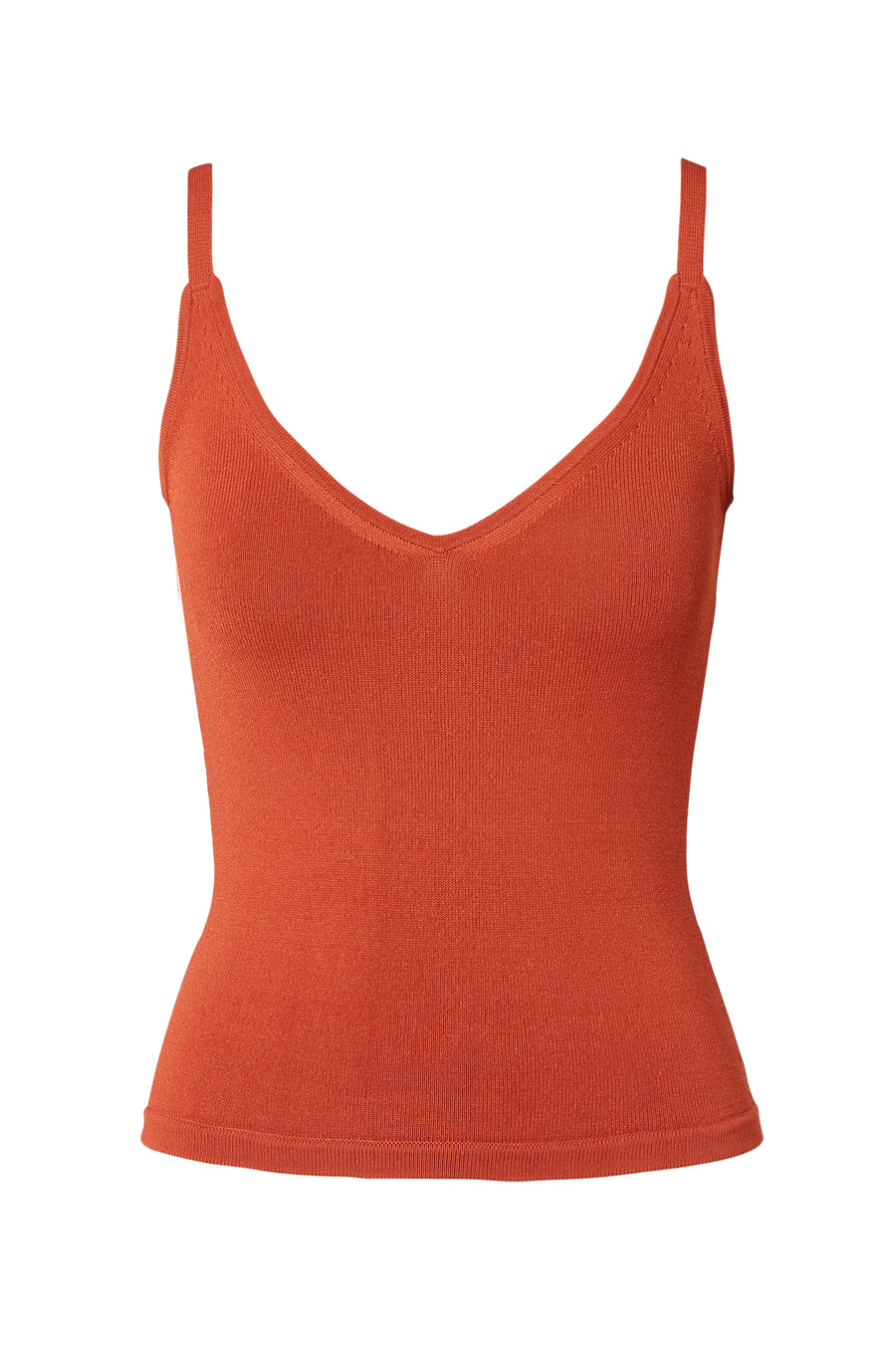 Crepe Knit Cropped Camisole, scoop v neckline, thin shoulder straps, intended to fit close to the body, Color Burnt