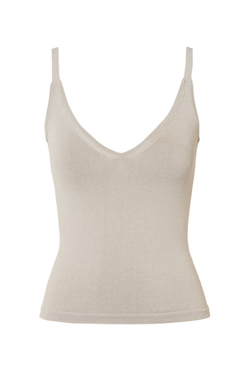 Crepe Knit Cropped Camisole, scoop v neckline, thin shoulder straps, intended to fit close to the body, Color Oyster