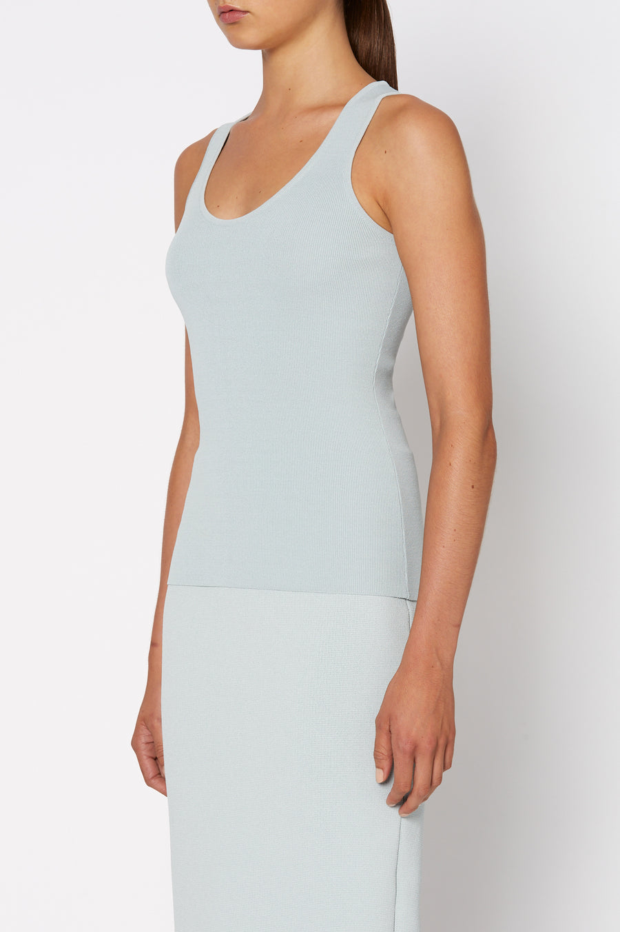 Crepe Knit Singlet, Scoop Neck, Slim Fit. Color Blue Argento
