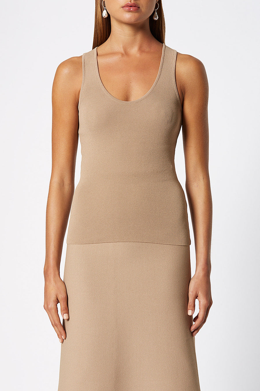 Crepe Knit Singlet, round scoop neckline, medium shoulder straps, intended to fit close to the body, Color Camel