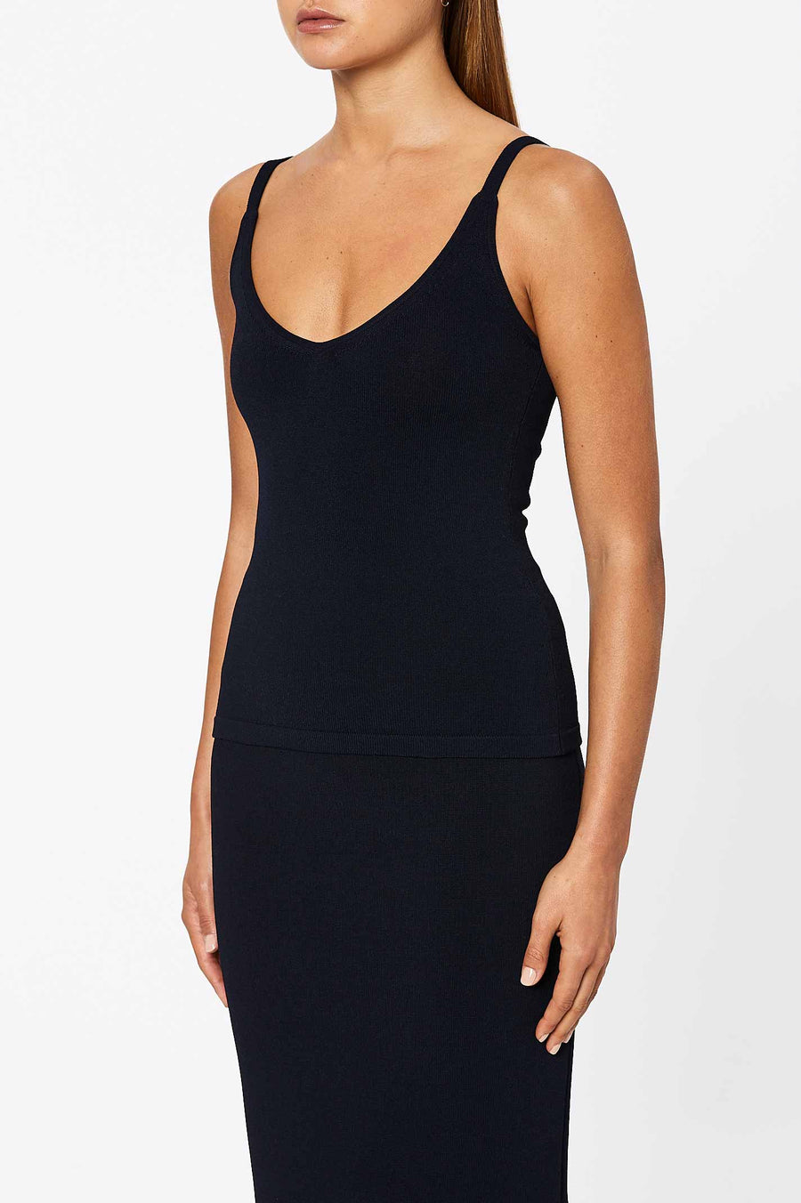 Crepe Knit Cropped Camisole Navy - Scanlan Theodore