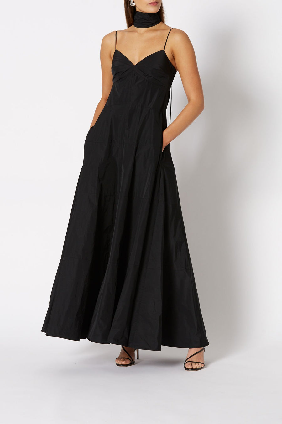 Taffeta Maxi Dress Black, Loose Fit, Maxi Length, Tiered ruffle Skirt, Front Slit, Front Pockets